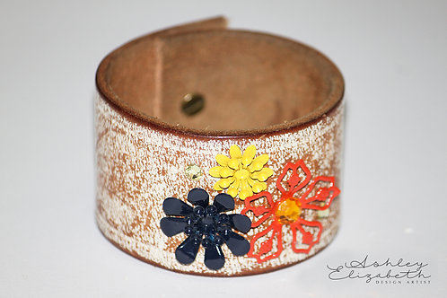 Warn White Leather Cuff with Flowers and Swarovski Crystals