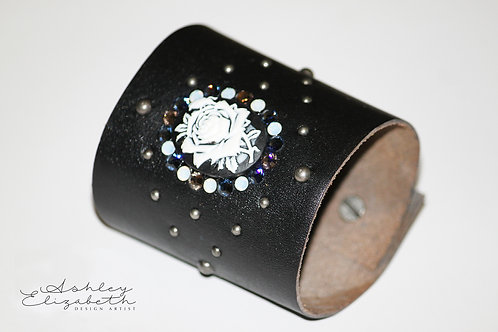 Black Leather Cuff with Swarovski Crystals and Rose Cameo