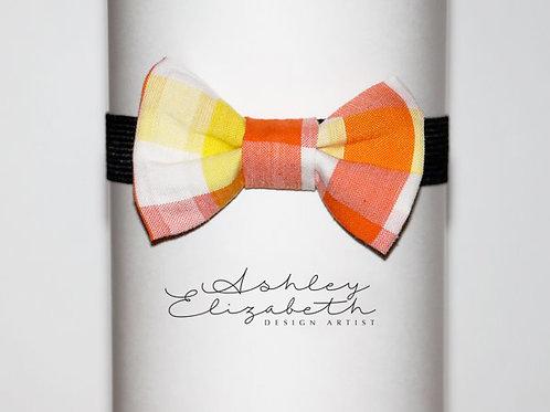 Yellow and Orange Plad Bow Tie