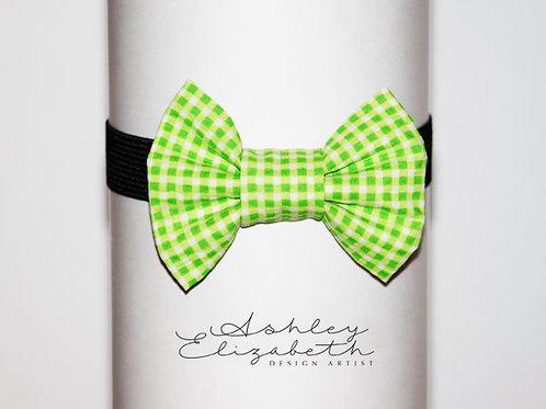 Lime Green Check Seersucker Bow Tie