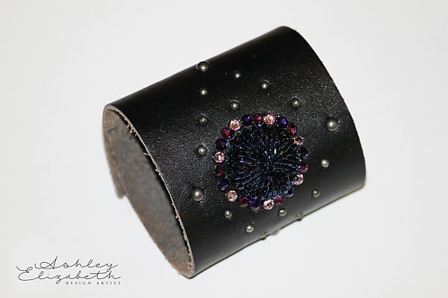 Black Leather Cuff with Swarovski Crystals