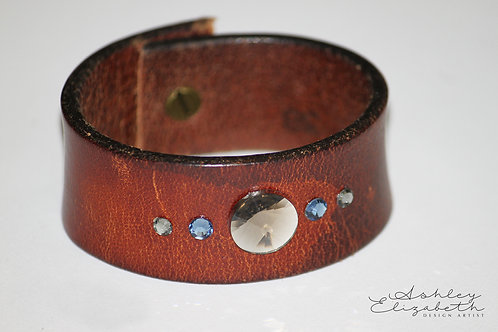 Brown Leather Cuff with Gray Swarovski crystals