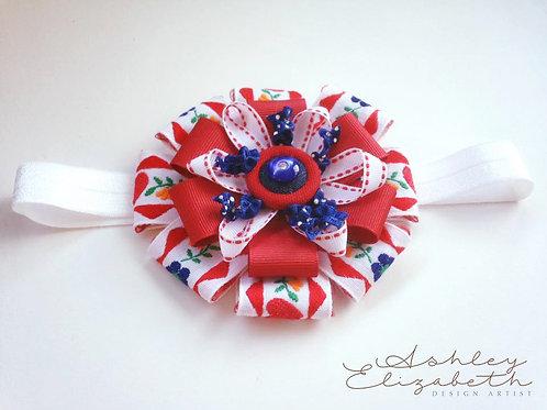 Red & White Ribbon Flower Stretch Headband