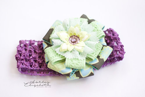 Green Flower; Purple Stretch Headband