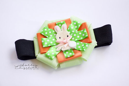 Easter Bunny; Black Stretch Headband