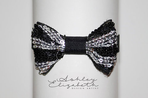 Black and Sliver Sequin Bow Tie