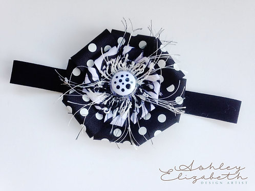 Black & White Ribbon Flower Stretch Headband