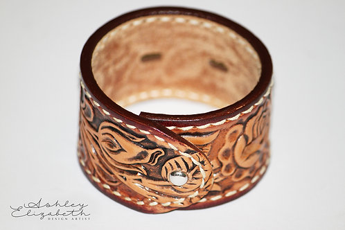 Floral Embossed Leather Cuff