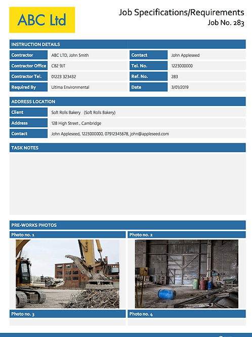 W-1 Job Specifications or Requirements Sheet