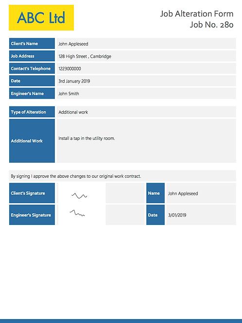 G-3 Job Alteration Form