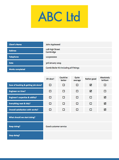 G-4 Onsite Customer Survey