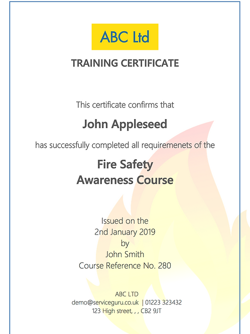 F-22 Fire Safety Awareness Training Certificate