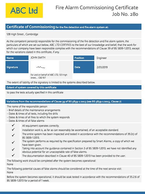 F-2Fire Alarm Commissioning Cert