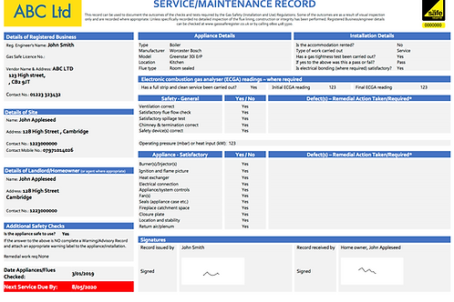 P-2 Gas Safe CP6 Domestic Gas Service/Maintenance Record (domestic)