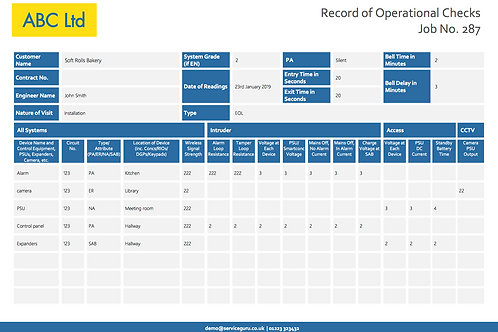 F-19 Record of Operational Checks