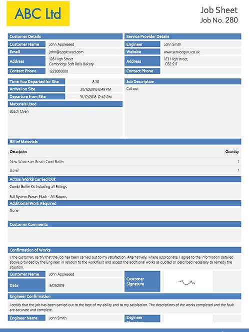G-9 Job Sheet
