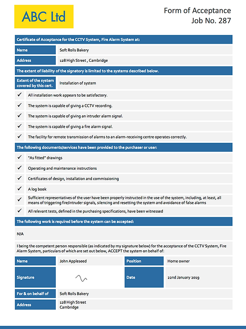 F-9 Fire Alarm, CCTV, Intruder Alarm Acceptance Form