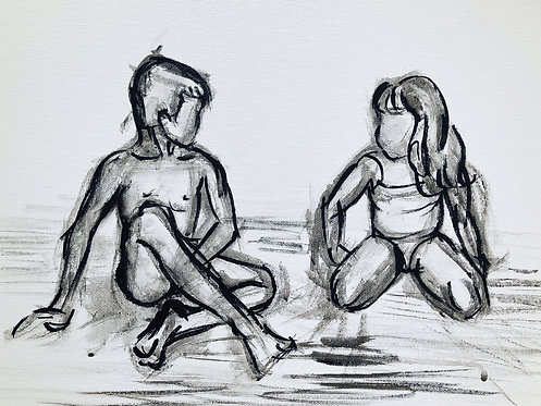 Boy and Girl | Siblings at the Beach: Original Painting