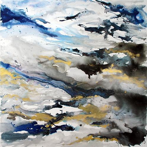 Stormy Phthalo (Silver Sky): Original Painting
