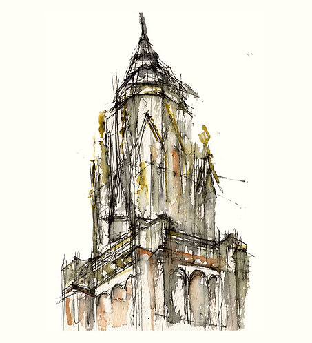 Toledo Cathedral Steeple: Notebook Study