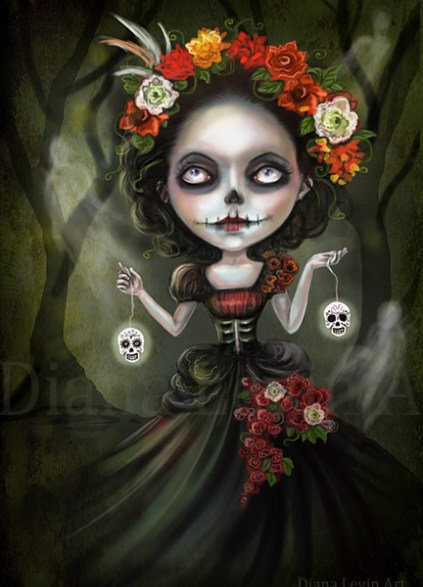 Skull Girl - Day of the Dead - Art Print
