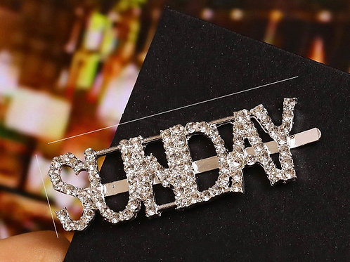 """SUNDAY"" Bling Hair Clip"