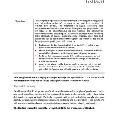 Construction and Interpretation of LBO Models
