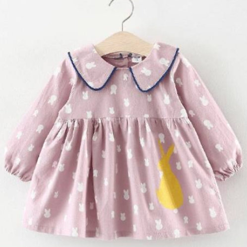 Pink collared bunny dress