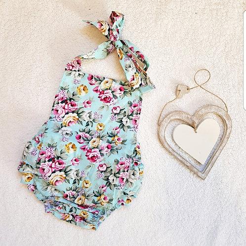 Blue Floral Baby Romper