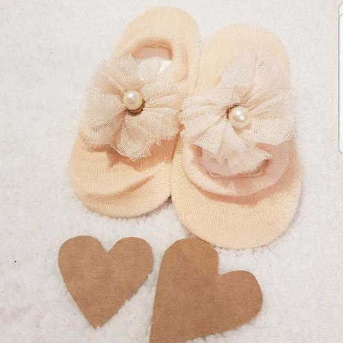 Organza pearl baby socks