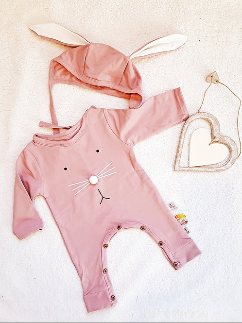 Pink Bunny Romper with matching bonnet