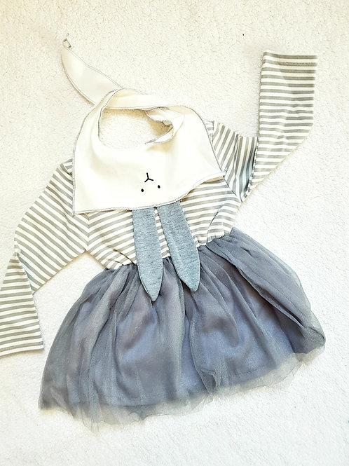 Grey stripe bunny dress