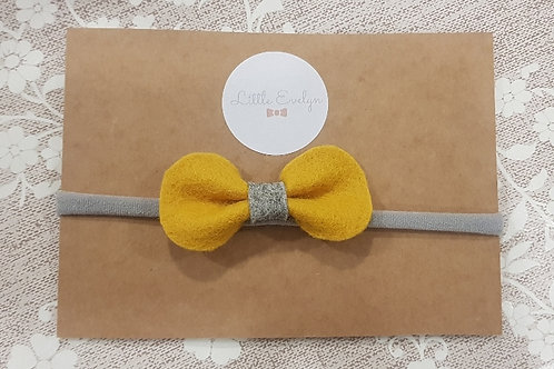 Mustard/ Grey Bow Headband