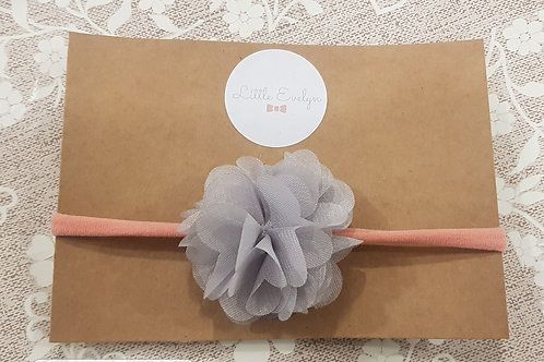 Grey/ Pink Chiffon Headband