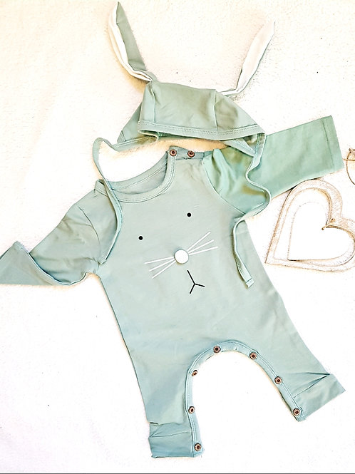 Green Bunny Romper with matching bonnet