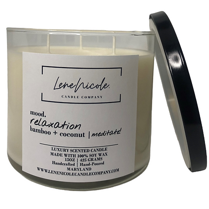 LeneNicole 3-wick Soy Candle Bamboo+Coconut - Meditate