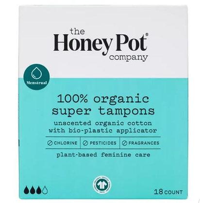The Honey Pot Super Organic Bio-Plastic Applicator Tampons - 18ct