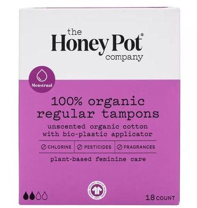 The Honey Pot Regular Organic Bio-Plastic Applicator Tampons - 18ct