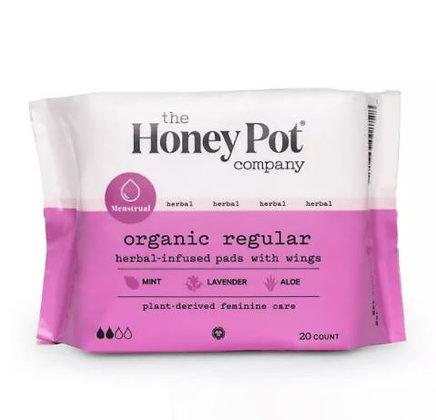The Honey Pot Organic Cotton Herbal Regular Pads - 20ct