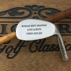 Hickory Shaft Engraved Niblick Golf Club Happy Birthday Grandad