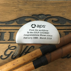 Hickory Shaft Engraved Mallet Putter Golf Club  Retirement Gift!