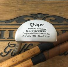 Hickory Shaft Engraved Mallet Putter Golf Club 5