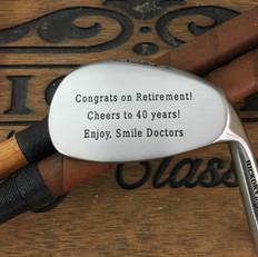 Hickory Shaft Engraved Niblick Golf Club  Retirement Milestone Gift