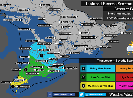Strong to Severe Thunderstorms Possible Across Southern Ontario; Large Hail Possible