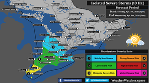 Thunderstorm Forecast, for Southern Ontario. Issued April 7th, 2020.