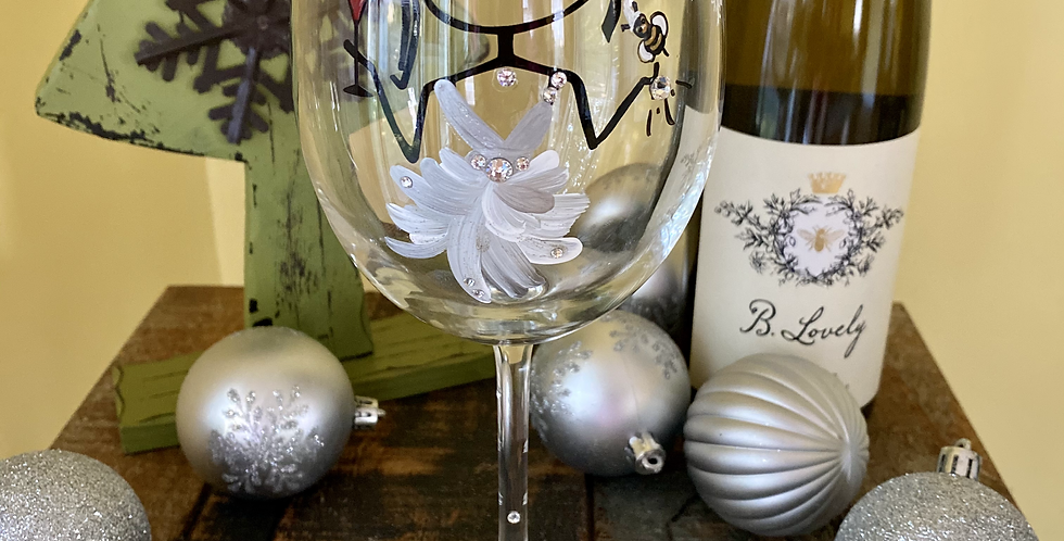 Meant to Bee Magical wine glass