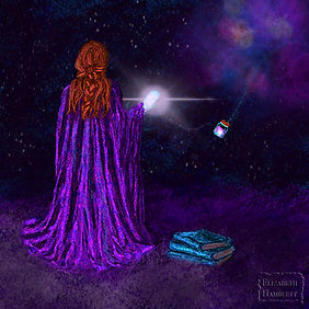 Star Jelly Files Author Image women standing in front of a purple nebula.