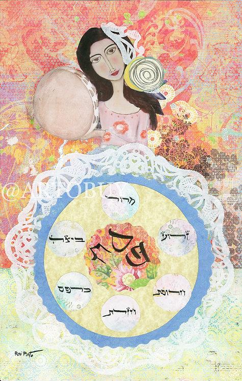 Miriam and the tambourine / Jewish Art Prints