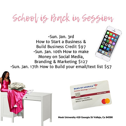 How to Start a Business & Build Business Credit Sunday 1/3 2-5pm