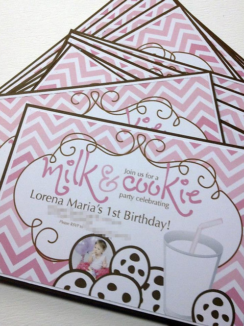 Milk & Cookie Party Invitations